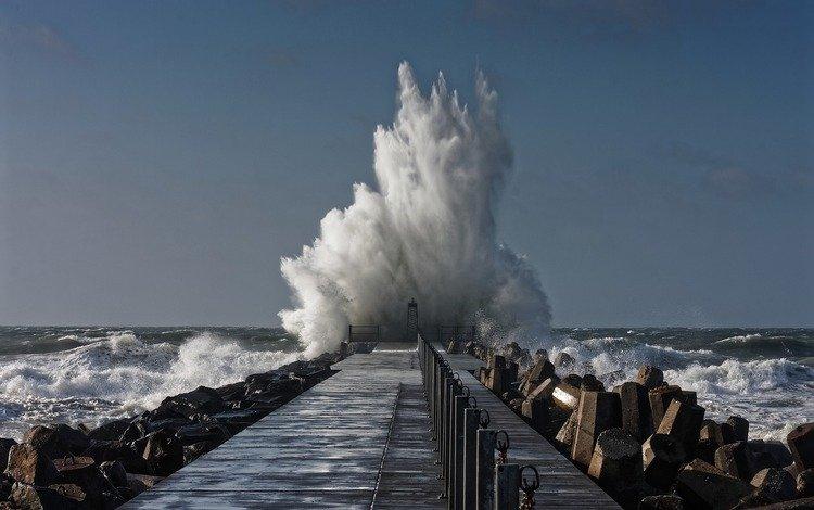 water, nature, landscape, sea, horizon, pierce, wave, coast, squirt, the ocean, storm