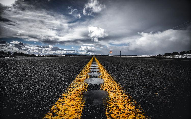 road, horizon, markup, asphalt