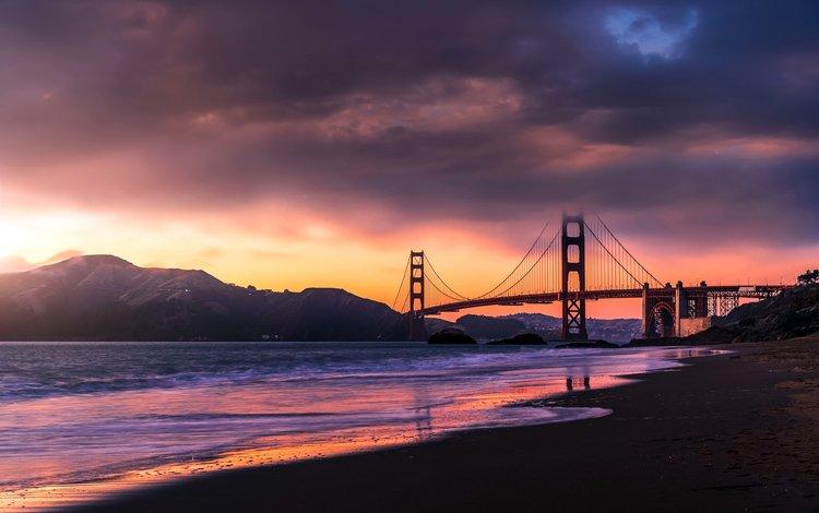 sunset, sea, bridge, san francisco, golden gate bridge, sanfrancicso