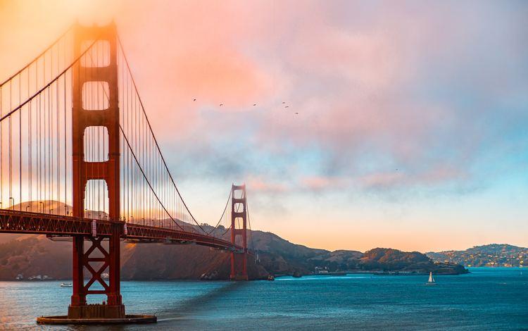 закат, море, мост, сша, сан-франциско, калифорния, золотые ворота мост, sunset, sea, bridge, usa, san francisco, ca, golden gate bridge