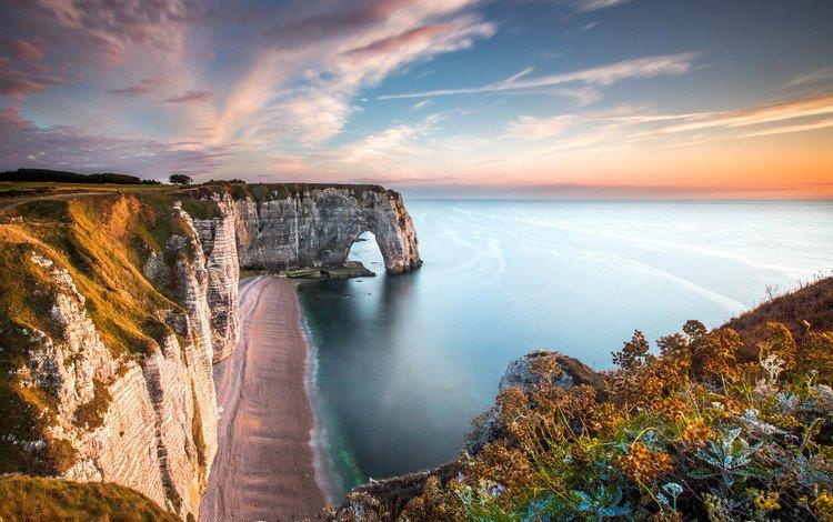 небо, этрета, скалы, природа, берег, закат, море, океан, франция, the sky, étretat, rocks, nature, shore, sunset, sea, the ocean, france