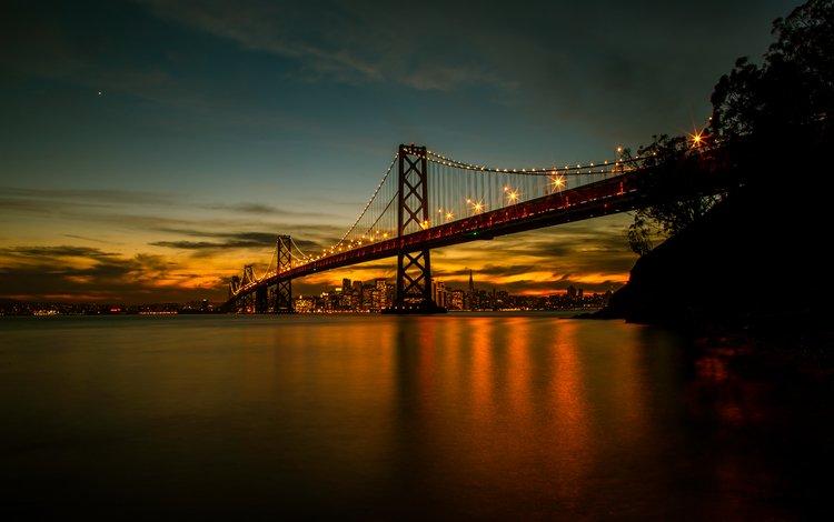 night, landscape, bridge, san francisco, ca, bay bridge