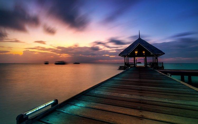 вода, озеро, берег, закат, пирс, причал, беседка, пристань, water, lake, shore, sunset, pierce, pier, gazebo, marina
