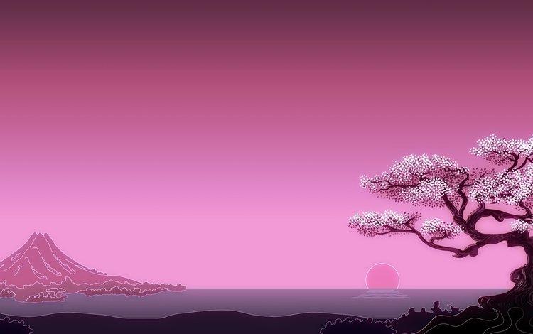 арт, солнце, дерево, море, гора, япония, минимализм, art, the sun, tree, sea, mountain, japan, minimalism