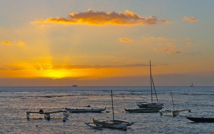 небо, облака, солнце, волны, лучи, море, лодки, the sky, clouds, the sun, wave, rays, sea, boats