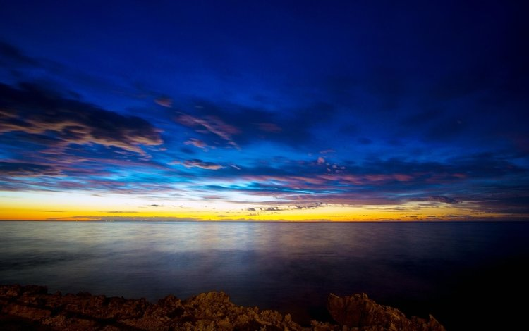облака, вечер, берег, закат, море, горизонт, сумерки, clouds, the evening, shore, sunset, sea, horizon, twilight