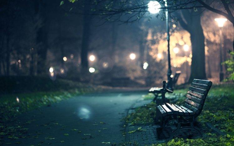 ночь, огни, вечер, парк, дорожка, город, фонарь, скамейка, night, lights, the evening, park, track, the city, lantern, bench