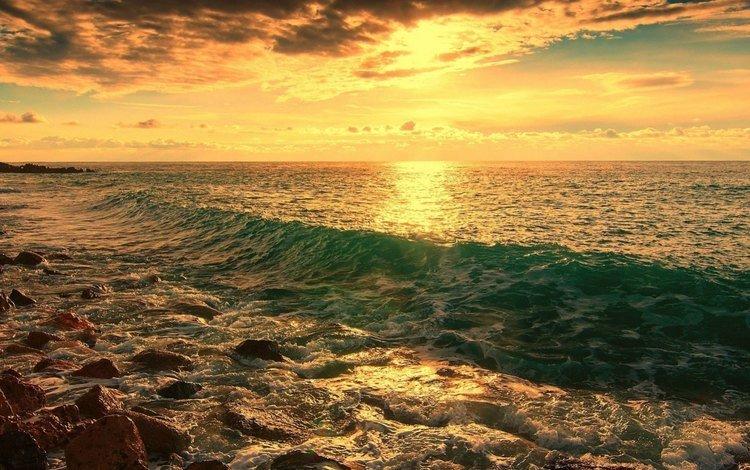 камни, берег, волны, море, горизонт, рассвет, береговая линия., stones, shore, wave, sea, horizon, dawn
