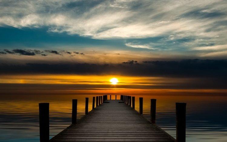 clouds, the sun, sunset, sea, pierce