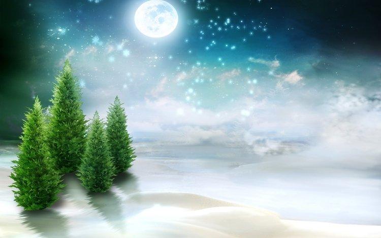 figure, trees, snow, nature, the moon, ate