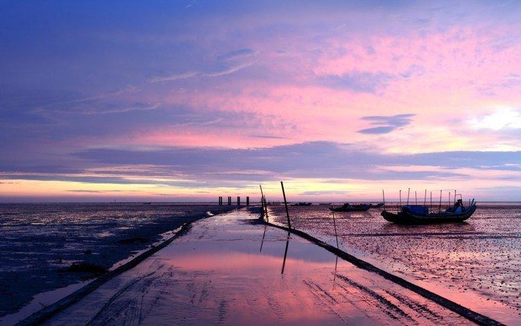 sunset, landscape, sea, boats