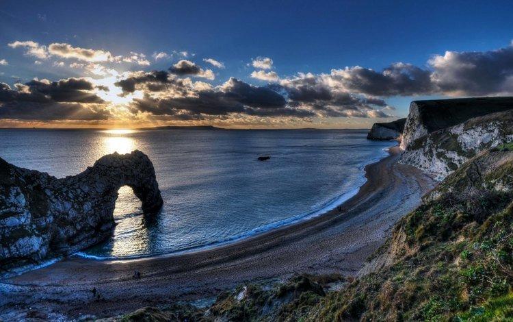 небо, скалы, берег, море, пляж, the sky, rocks, shore, sea, beach