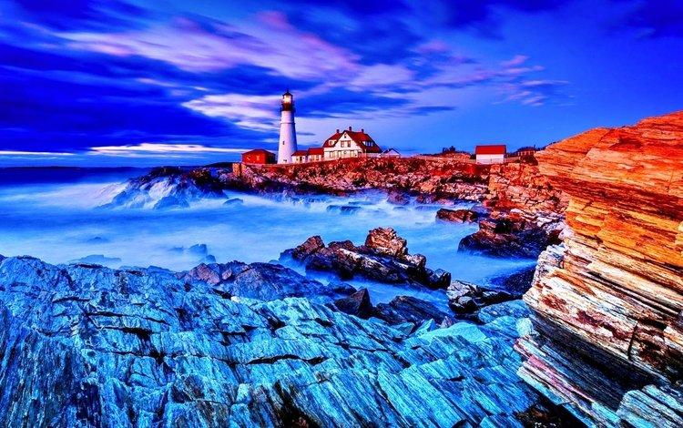 stones, wave, sea, lighthouse