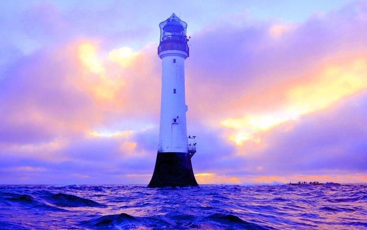 nature, sea, lighthouse, scotland, bell rock lighthouse angus