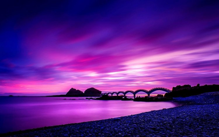 bridge, coast, taiwan, sunrise