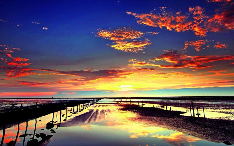 небо, облака, вечер, солнце, природа, берег, закат, море, the sky, clouds, the evening, the sun, nature, shore, sunset, sea