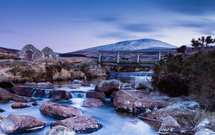 the sky, river, stones, landscape, mountain, bridge