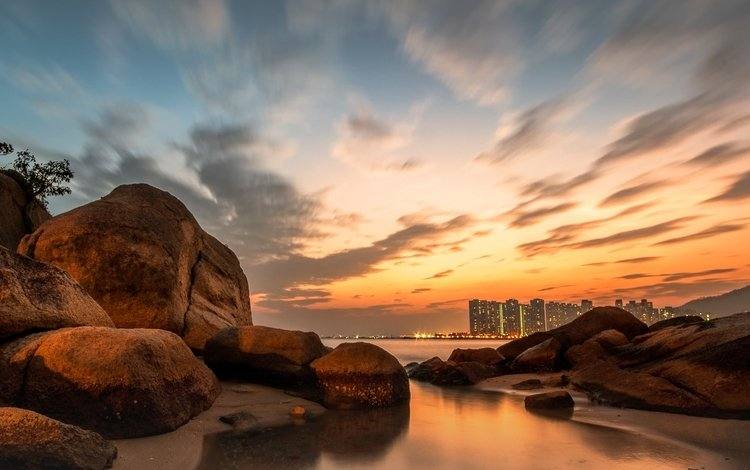 скалы, берег, закат, пейзаж, море, камень, rocks, shore, sunset, landscape, sea, stone
