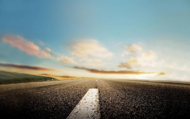 the sky, road, clouds, horizon