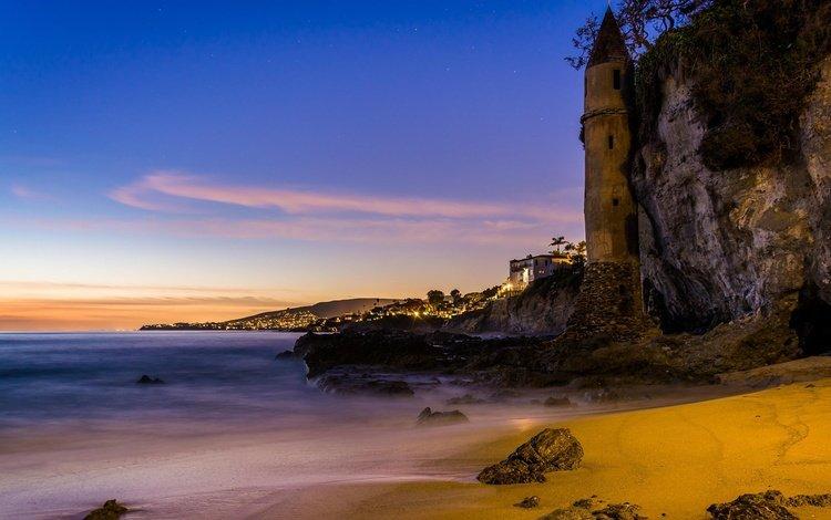 night, lights, shore, sea, rock, stone, usa, ca, laguna beach, victoria beach, rocky cape, пиратская башня