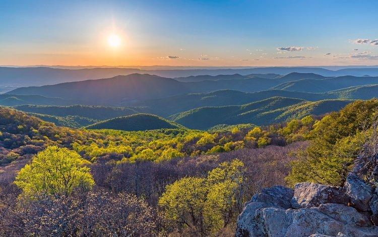 горы, природа, закат, пейзаж, сумерки, mountains, nature, sunset, landscape, twilight