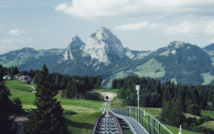 trees, mountains, railroad, rails, nature, landscape, switzerland, building