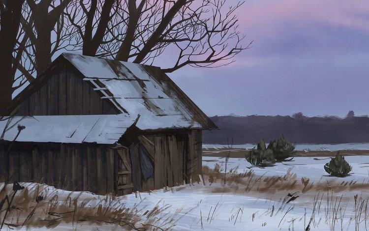 the sky, art, snow, tree, sunset, winter, house, twilight, hut, tanya sergienko