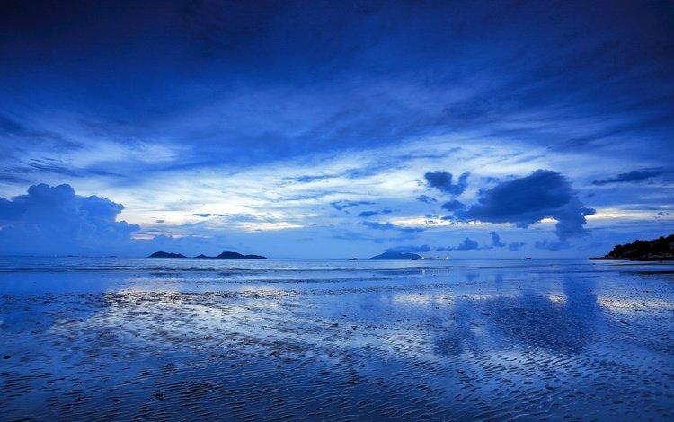 небо, горизонт, облака, побережье, вода, океан, берег, сумерки, закат, отражение, пейзаж, море, the sky, horizon, clouds, coast, water, the ocean, shore, twilight, sunset, reflection, landscape, sea