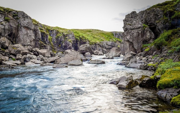 the evening, river, mountains, rocks, stones, landscape, iceland, mountain river