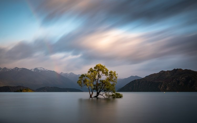 clouds, trees, water, mountains, nature, new zealand, otago, wanaka