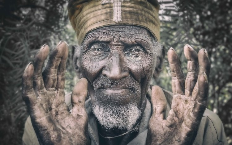 portrait, face, male, the old man, orthodox, ethiopia, lalibela