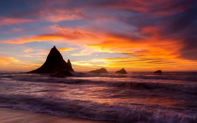 скалы, берег, закат, море, прилив, rocks, shore, sunset, sea, tide