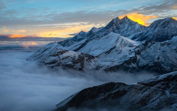 the sky, clouds, mountains, snow, nature, sunset, landscape, italy, alps, снежная гора
