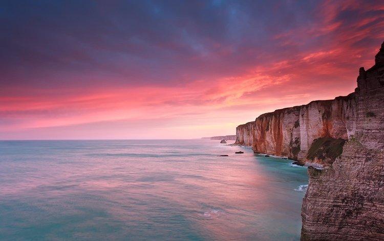 the sky, clouds, nature, sunset, landscape, sea, horizon, france, rock, étretat