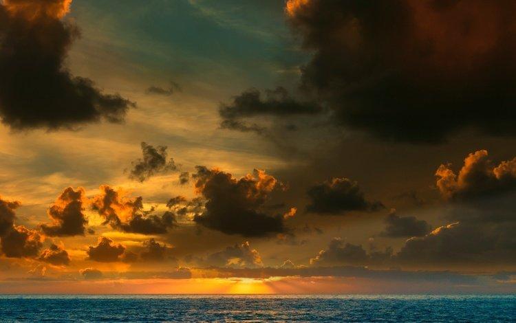 небо, солнечные лучи, облака, вода, солнце, природа, закат, пейзаж, море, the sky, the sun's rays, clouds, water, the sun, nature, sunset, landscape, sea