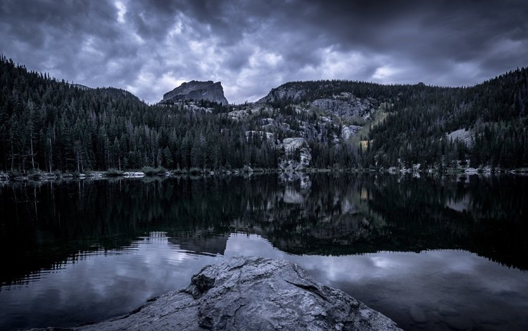 the sky, clouds, trees, water, lake, rocks, forest, reflection, landscapes, tops, usa, overcast, colorado