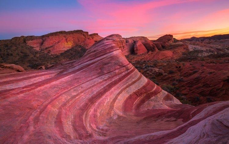the sky, clouds, rocks, nature, sunset, landscape, desert, canyon, usa, nevada