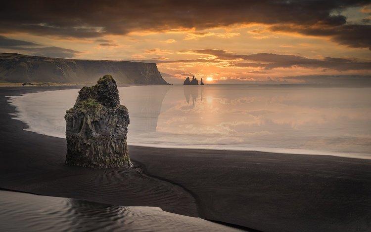 the sky, clouds, mountains, rocks, sunrise, nature, sand, beach, horizon, coast, iceland