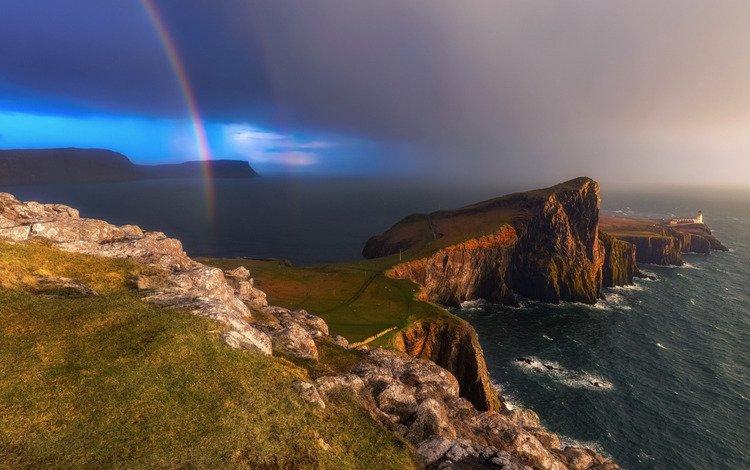маяк, шотландия, скай, нест-пойнт, lighthouse, scotland, skye