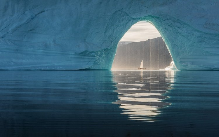 sea, ship, iceberg, arch, glacier, greenland