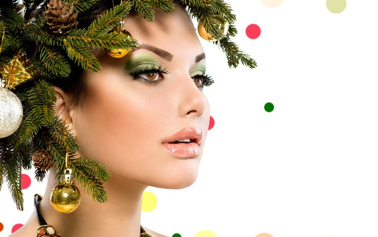 новый год, лицо, елка, макияж, украшения, рождество, девушка, ожерелье, ветки, анна субботина, шарики, модель, креатив, new year, face, tree, makeup, decoration, christmas, girl, necklace, branches, anna subbotina, balls, model, creative