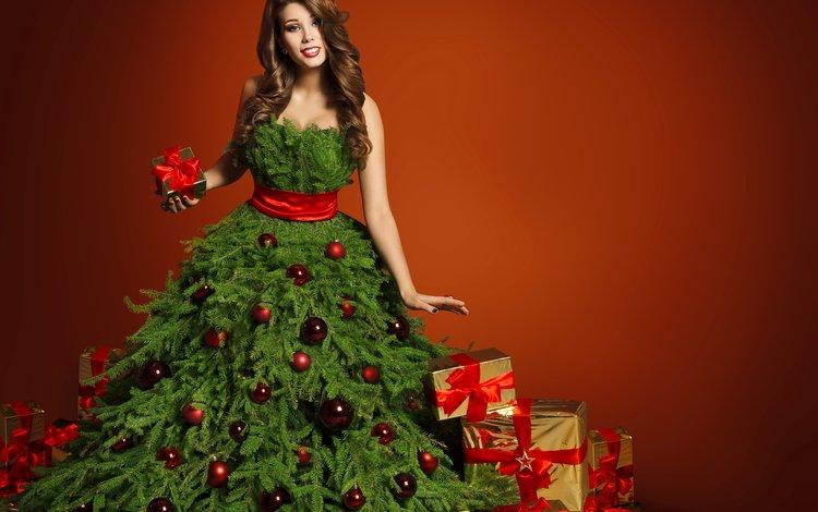 новый год, шатенка, елка, девушка, платье, подарки, шарики, рождество, бантик, new year, brown hair, tree, girl, dress, gifts, balls, christmas, bow