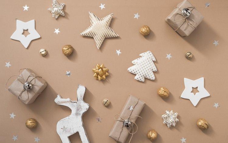 новый год, олень, подарки, звездочки, рождество, новогодние украшения, new year, deer, gifts, stars, christmas, christmas decorations