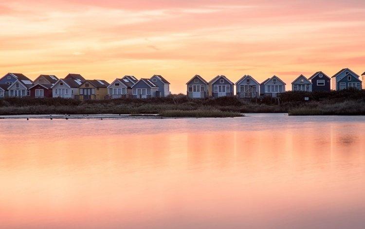 берег, закат, домики, shore, sunset, houses