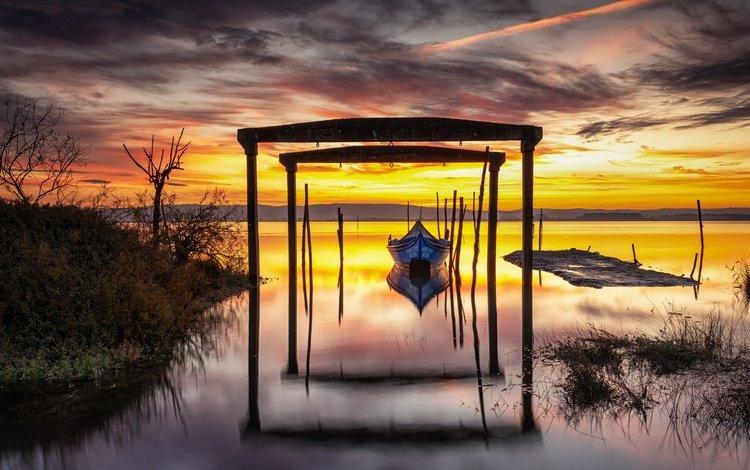 берег, закат, лодка, shore, sunset, boat