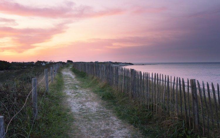 берег, закат, shore, sunset