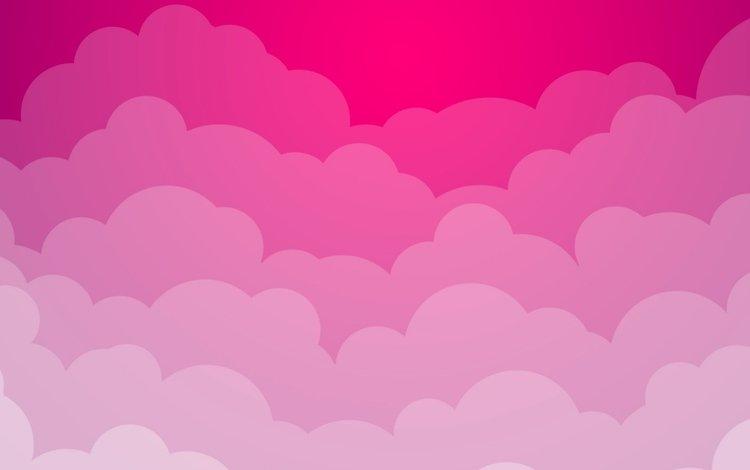облака, розовый фон, clouds, pink background