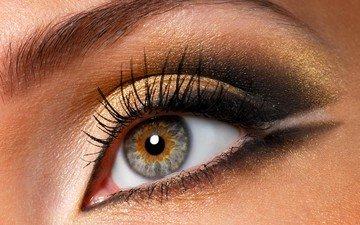 девушка, лицо, глаз, макияж, ресницы