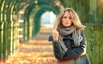 park, blonde, portrait, autumn