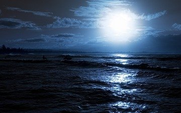 night, wave, reflection, rays, sea, people, the moon, glow, glare, board, surfing